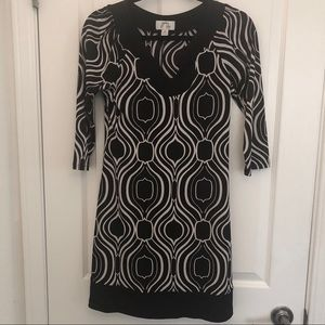 Long Sleeve Black and White Flowy Dress